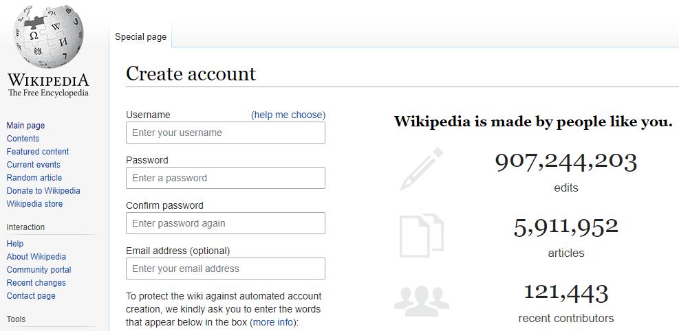 Create Wikipedia Account